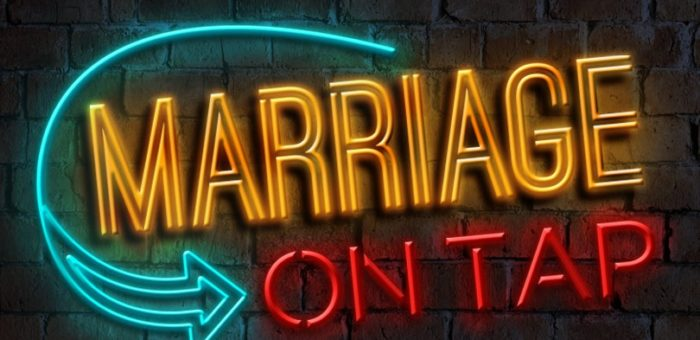 marriage on tap neon sign